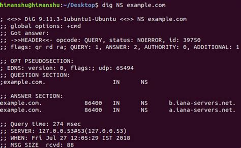resolving domain names  dig command  linux