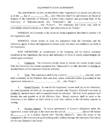 11 Simple Commercial Lease Agreement Template For Landowner And Tenants Equipment Lease Template Free