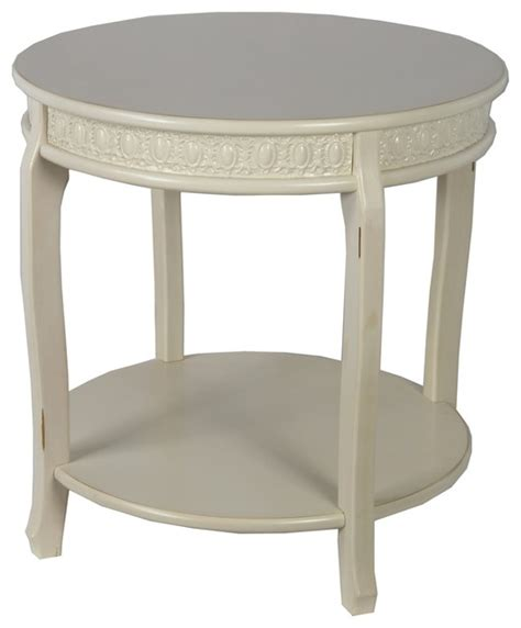 privilege international antique white wooden accent table