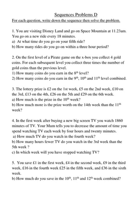 pattern problem solving questions number sequences word problems by goofygoober teaching