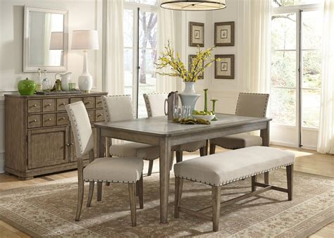 bench and chair dining sets rustic casual 6 piece dining table and chairs set with bench by liberty furniture