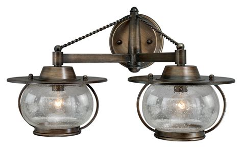 Nautical Bathroom Vanity Lights Vaxcel W0019 Jamestown Nautical Parisian Bronze 11 Quot Halogen 2 Light Bath Sconce Vxl W0019