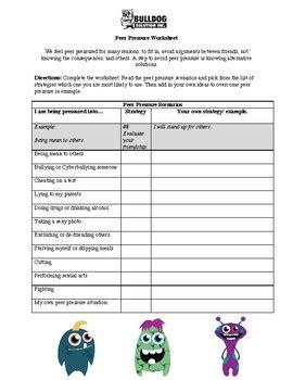 peer pressure worksheet  bulldog solution teachers pay