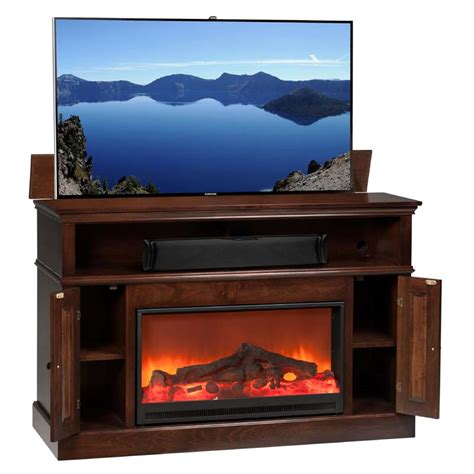fireplace tv lift tv lift cabinet huntington fireplace lift for 40 to 60 inch screens coffee at006449cof