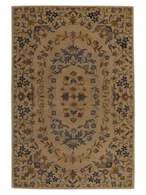 floral area rugs 5x8 tufted classic floral ivory 5x8 kashan agra style area rug ebay