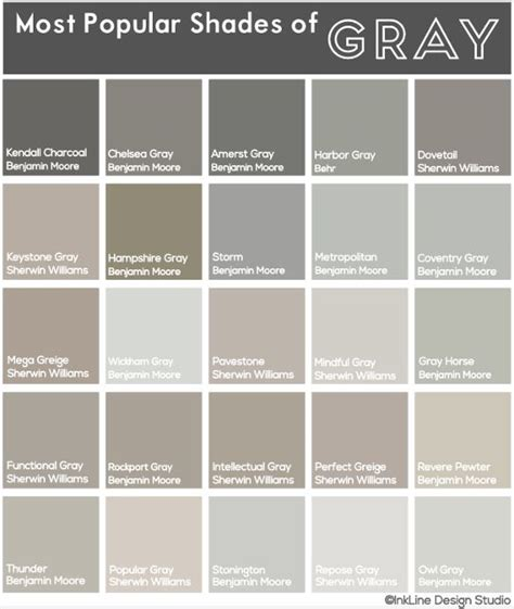 shades of gray names most popular shades of gray my most recent project