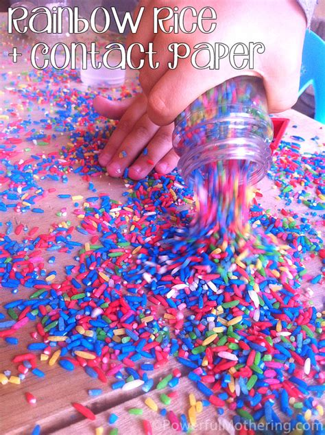 Paper With Preschoolers - rainbow color rice and contact paper a preschool activity