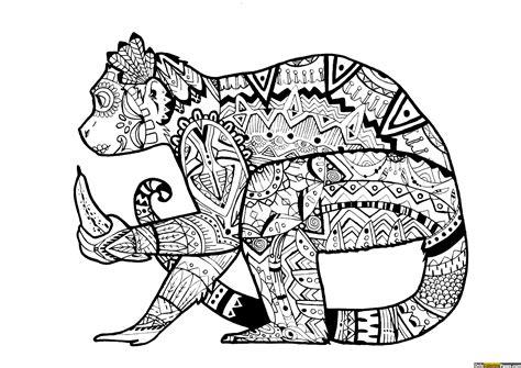 expert level monkey mandala coloring page free printable