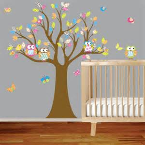 Owl Nursery Wall Stickers Vinyl Wall Decal Stickers Owl Tree Set Nursery By