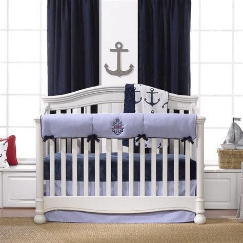 Nautical Crib Bedding Set Nautical Bumperless Crib Bedding Liz And Roo