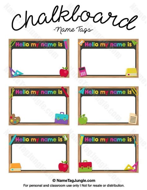 abc card template editable free printable chalkboard name tags the template can also