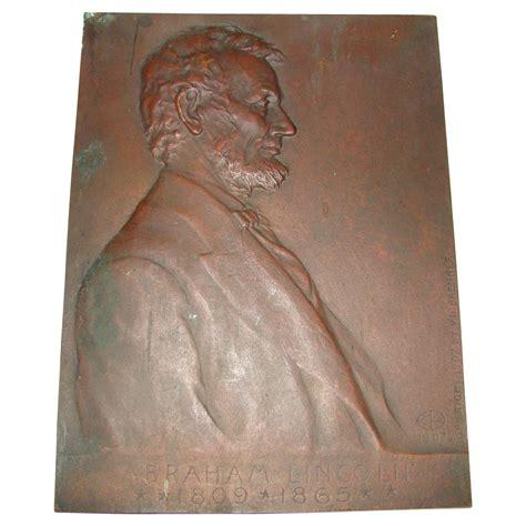 1907 antique president portrait abraham lincoln fine art antique bronze portrait plaque of president abraham