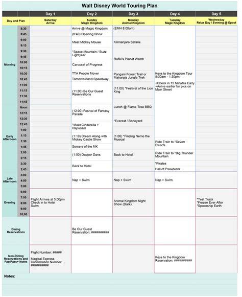 Walt Disney World Planning Spreadsheet by Free Disney World Touring Plan Spreadsheet Wit Wander