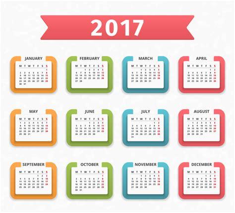 Calendar Vector Colored Paper Calendar 2017 Vector Design Vector