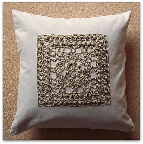 Handcrafted Cushions - crochet panel cushion cover with button fastening