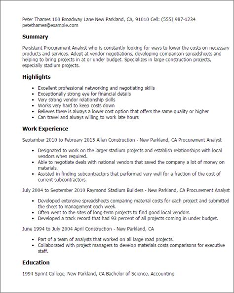 procurement specialist resume professional procurement analyst templates to showcase