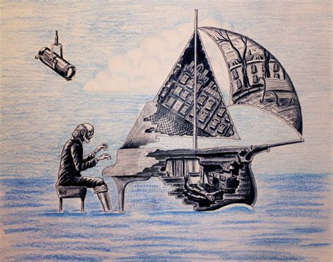 color my art surreal pianist surreal pen ink color pencil drawing by vitogoni on