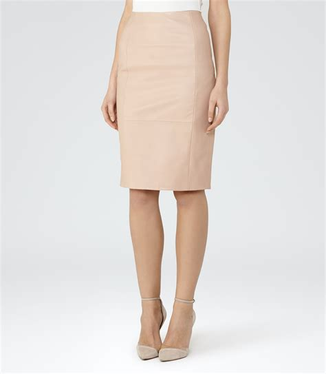 essie pink leather pencil skirt reiss