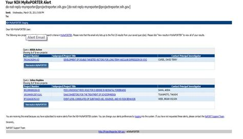 Search Email Alert Nexus Issue Nih Extramural Nexus