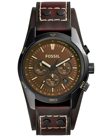 Fossil S221143 Black Drakbrown Leather fossil s chronograph coachman brown leather