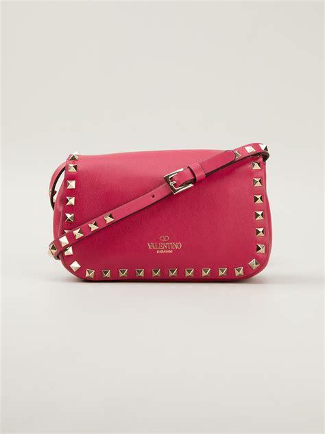 valentino mini rockstud cross bag in pink lyst