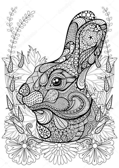 afbeelding bloemen met dier zentangle gestileerde konijn met bloemen hand getekende