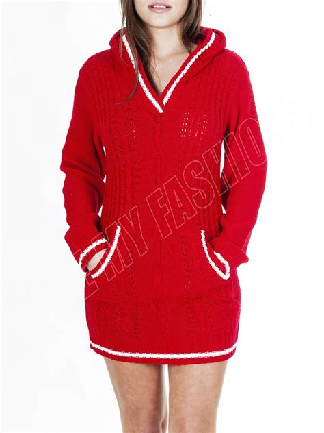 L5017 Oktavia Tunic 58000 0 new womens cable knitted hooded jumper dress plus size s m l xl ebay