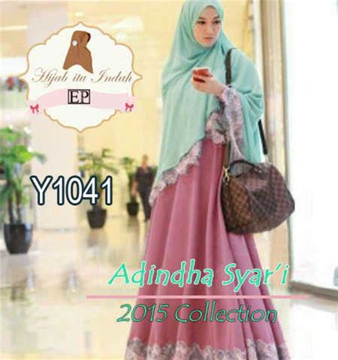 Baju Muslim Syari Cantik Baju Muslim Syari Cantik Adindha Y1041 Gamis Bergo