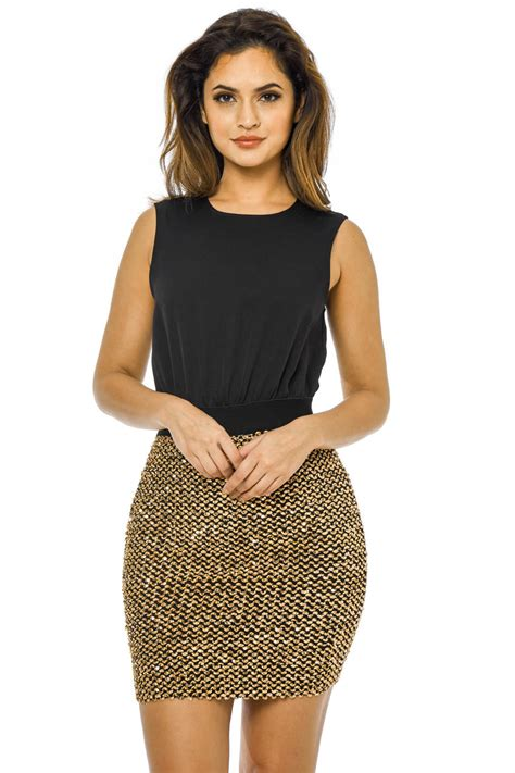 Parisian 2in1 Ax Womens 2 In 1 Sequin Skirt Mini Dress Black Gold