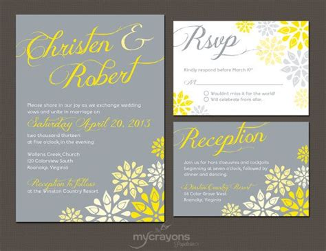 Gray And Yellow Floral Wedding Invitation By Ccoinc 36 Best Images About Printable Invitations Wedding On