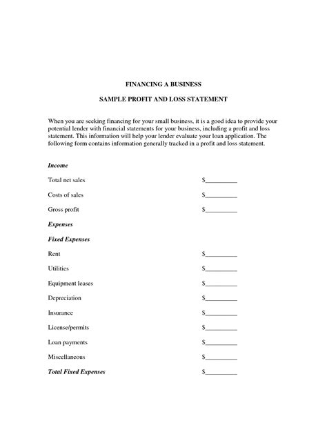 profit and loss statement template for small business best photos of business profit and loss template profit