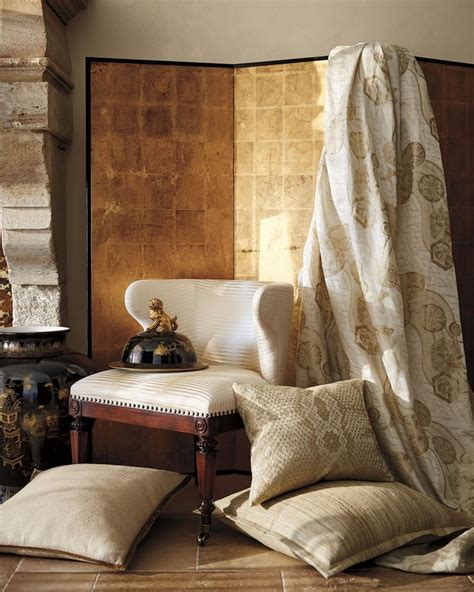 English Homes Interiors shimmering silks contrast with natural linens for refined