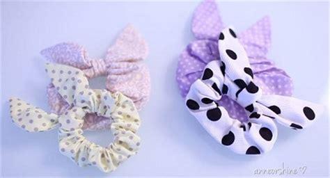 cara membuat gelang dari ikat rambut ide membuat ikat rambut bentuk kuping kelinci dari kain perca