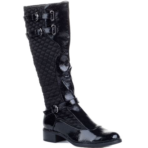 new black patent quilted knee boots size 3 8 ebay