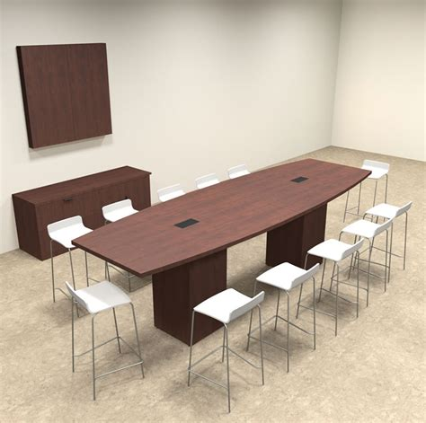 Bar Height Meeting Table Boat Shape Counter Height 12 Conference Table Of Con Ct9 Ebay