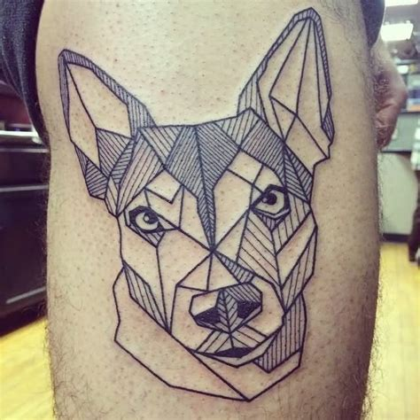 tattoo geometric face 8 wonderful dog tattoos on thigh