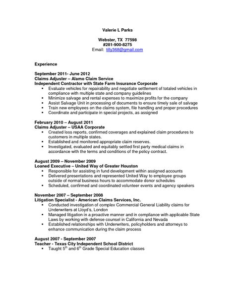 claims adjuster resume sle http resumesdesign com
