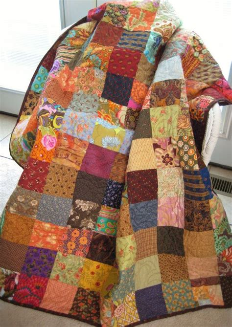 Large Patchwork Quilt - patchwork quilt large throw size quilt scrappy by