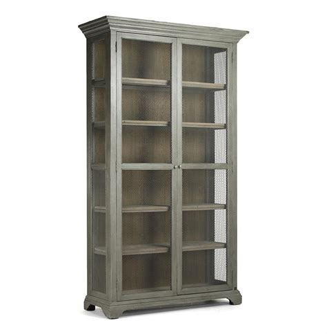 Bookcase Cabinet Lucille Country Grey Wash Chicken Wire Bookcase