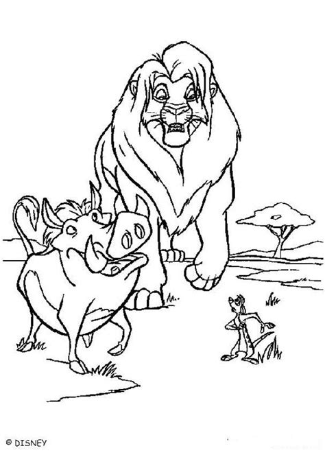lion pride coloring pages simba timon and pumbaa walking the pride lands coloring