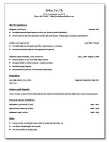 Template For High School Student Resume by High School Student Resume Free Resume Templates
