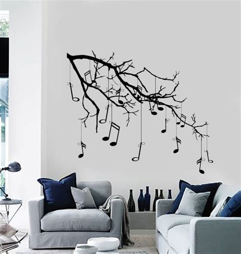 wall vinyl decal tree with branches hanging music notes modern