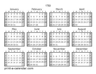 page yearly calendar  shaded weekends