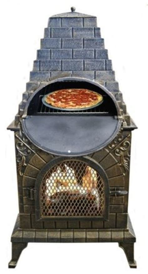 chiminea with pizza oven deeco aztec cast iron chiminea pizza oven