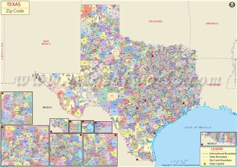buy texas zip code map