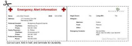 Alert Wallet Card Template by Emergency Wallet Card Disasters Earthquakes Facts