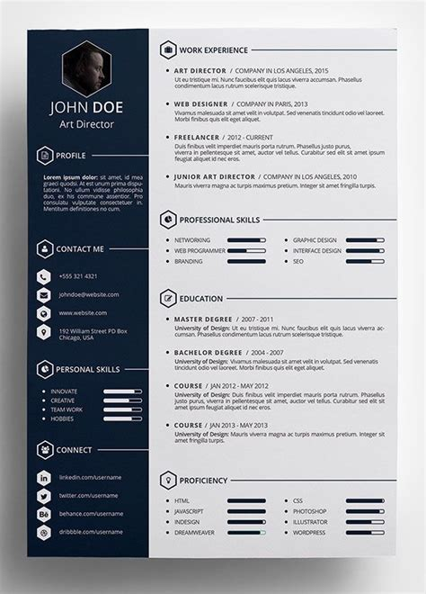 psd resume templates free creative resume template in psd format pinteres
