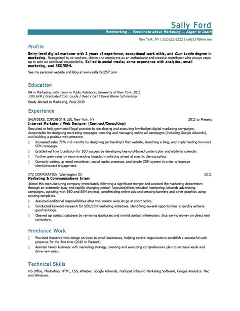 Resume Summary Exles Entry Level Marketing 10 Marketing Resume Sles Hiring Managers Will Notice