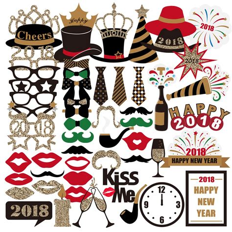 new years 2018 party favors pbpbox 59pcs photo booth props for 2018 new years supplies decorati ebay