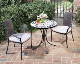 Bistro Patio Table And Chairs Set Home Styles 3 Pc Indoor Outdoor Bistro Set Includes Marble Bistro Table 2 Laguna Slope Arm